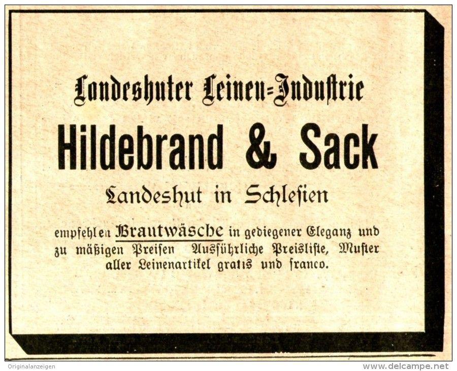 Original-Werbung/ Anzeige 1897 - LANDESHUTER LEINEN - INDUSTRIE / HILDEBRAND & SACK  - LANDESHUT - ca. 90 x 75 mm