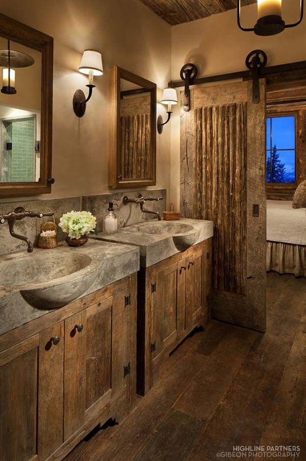 30 Awesome Ideas to Add Rustic Style To Bathroom Log furniture