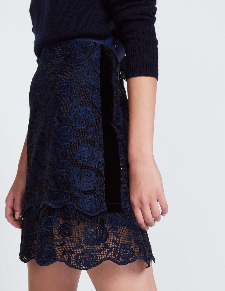 Sandro Short Skirtbr Lace With Rosesbr Velvet