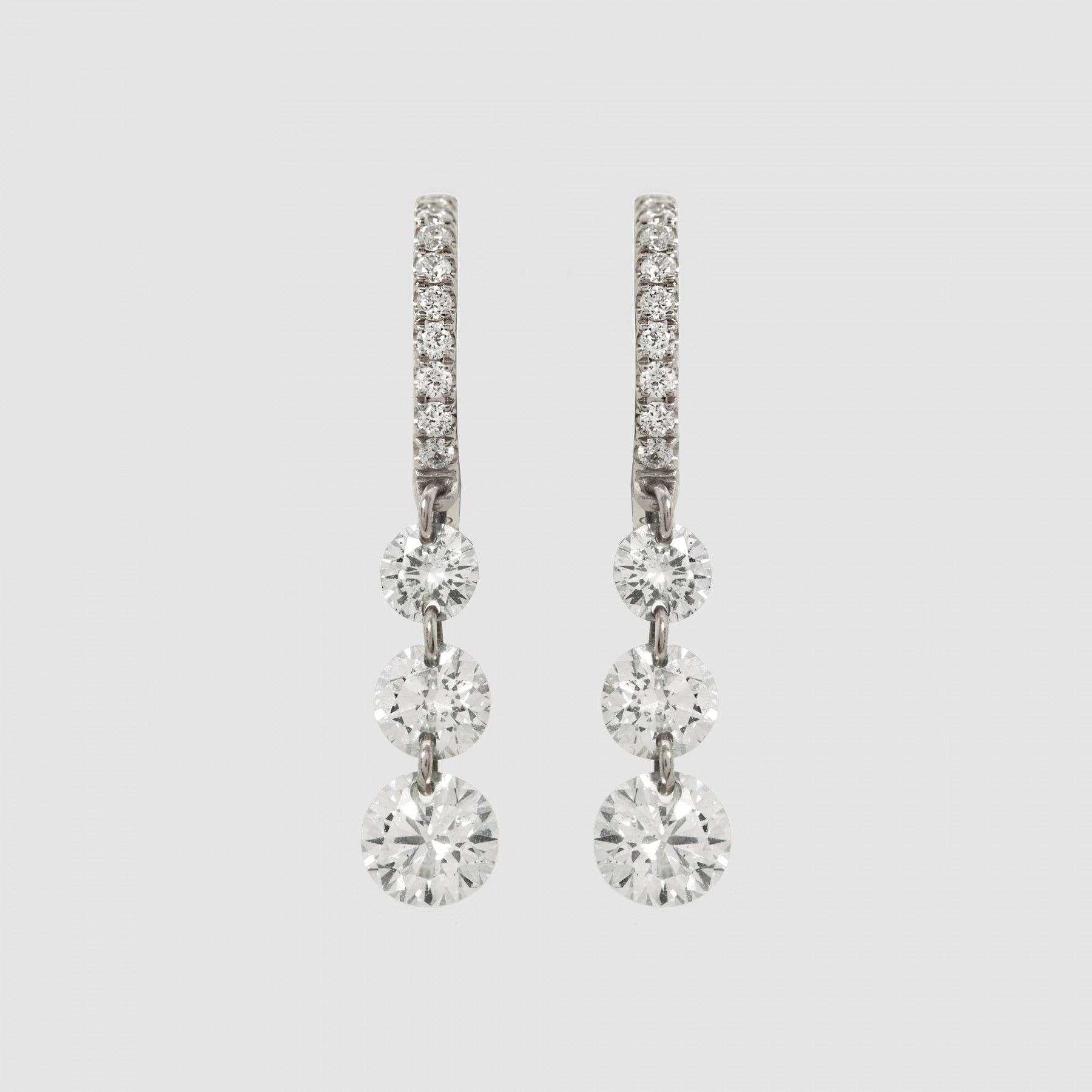 Raphaele Canot Set Free Pave Diamond Triple Drop Earring