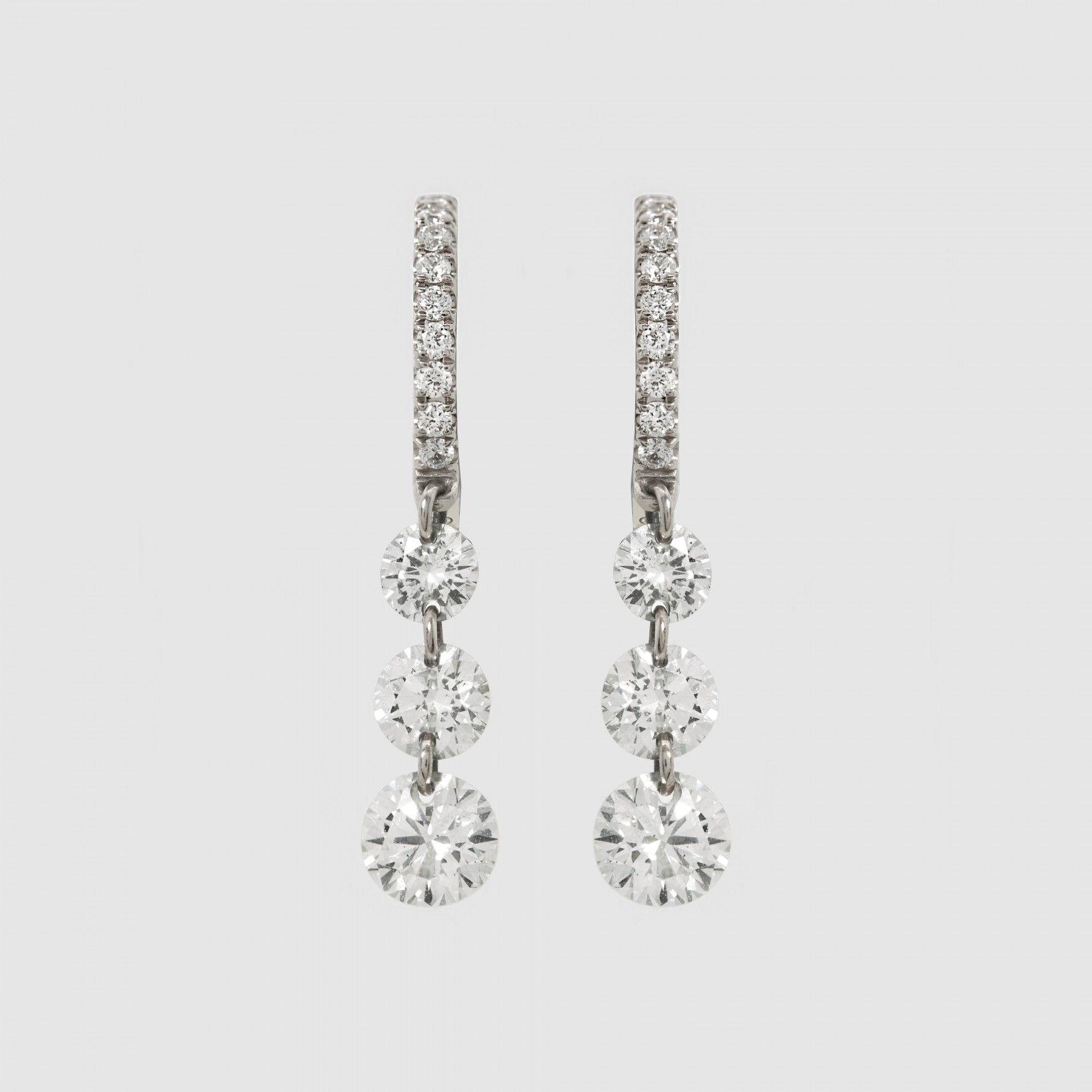 Raphaele Canot Set Free Pave Diamond Triple Drop Earring