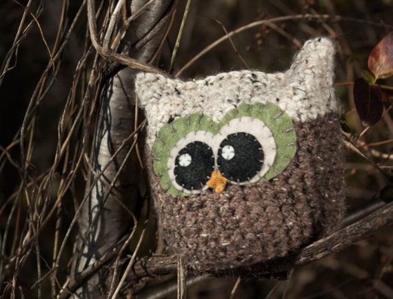 Brown and Tan Crochet Owl Pillow by TheGingerSnapShoppe on Etsy