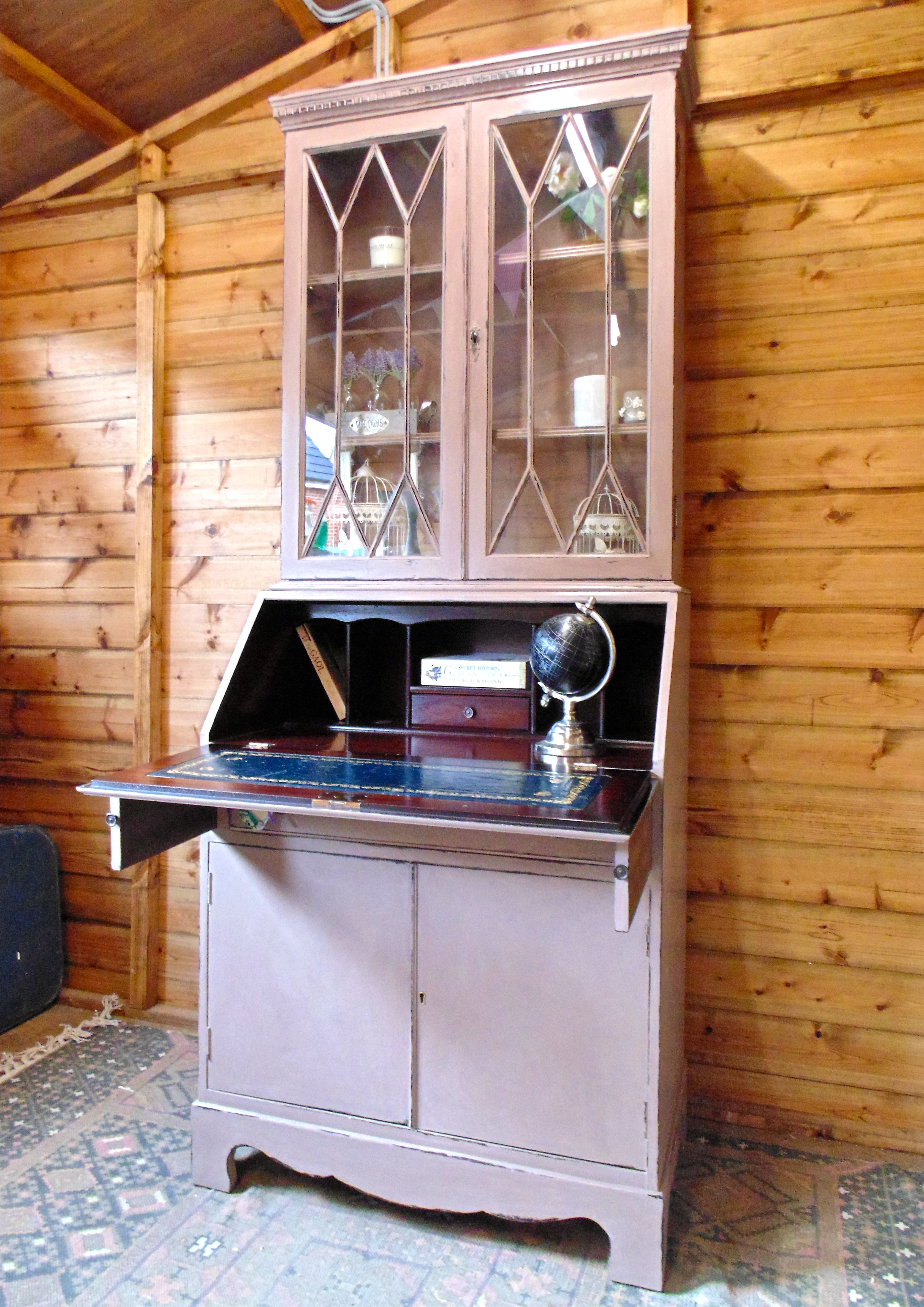 Interior Of Shabby Chic Writing Bureaubookcase Display Cabinet