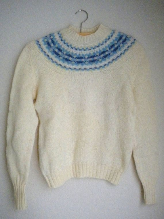 Vintage 60s Pure Shetland Wool Dean's of Scotland medium large Fca6lLoBlO