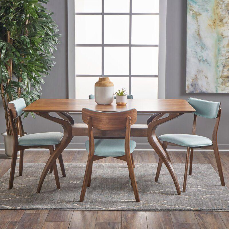 Allmodern Taurean 5 Piece Solid Wood Dining Set Reviews Wayfair In 2020 Solid Wood Dining Set Rectangle Dining Set Modern Dining Room