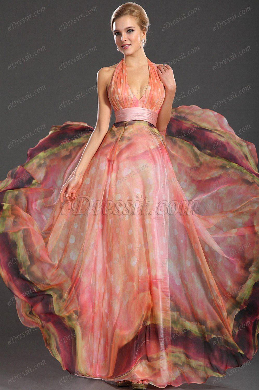 eDressit Maravilloso Estampado Halter Escote en V Vestido de Fiesta ...