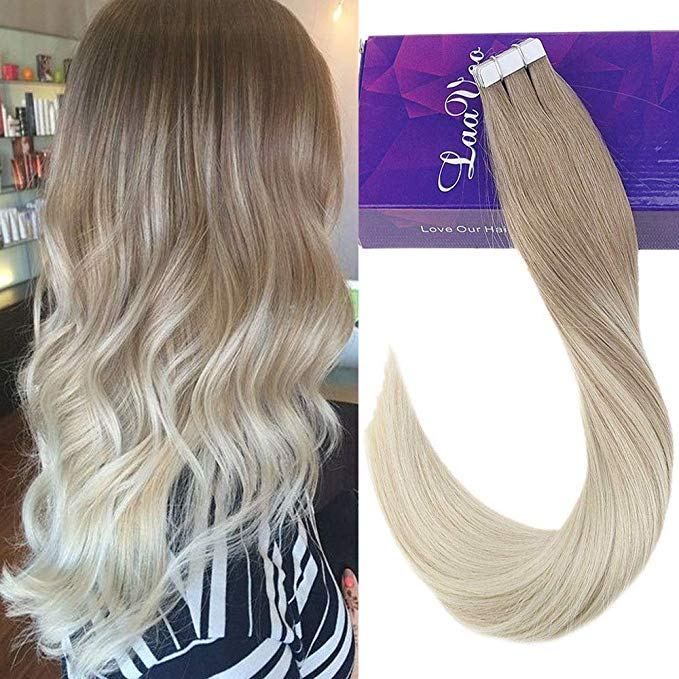 Ugeat Tape in Human Hair Extensions Skin Weft Hair Natural Purple 10pcs 20-25g