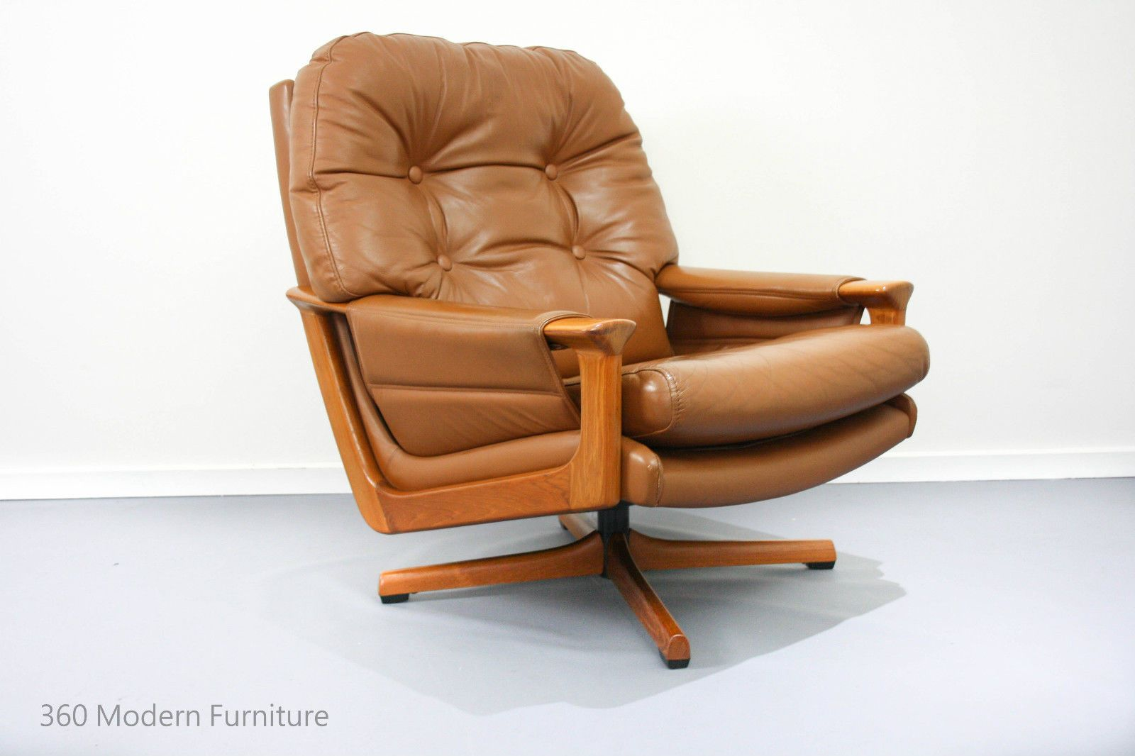 mid century tessa swivel armchair retro vintage leather lounge chair t1 t21 fred lowen in home - Leather Lounge Chair