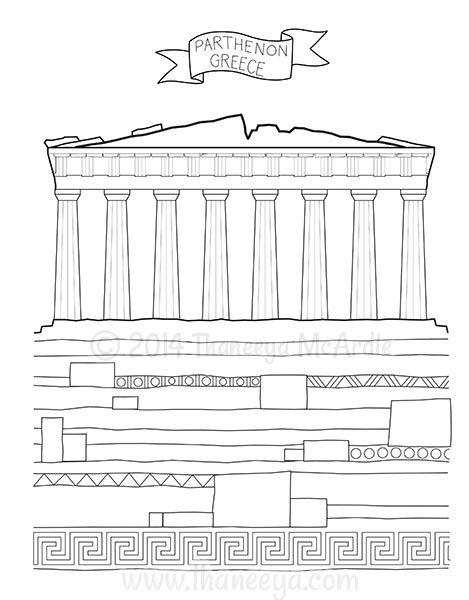 World Traveler Coloring Book Parthenon Greece Coloring Books
