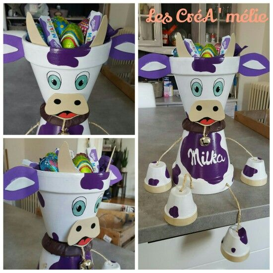 Vache milka deco pot de terre pinterest vache de - Pot de decoration ...