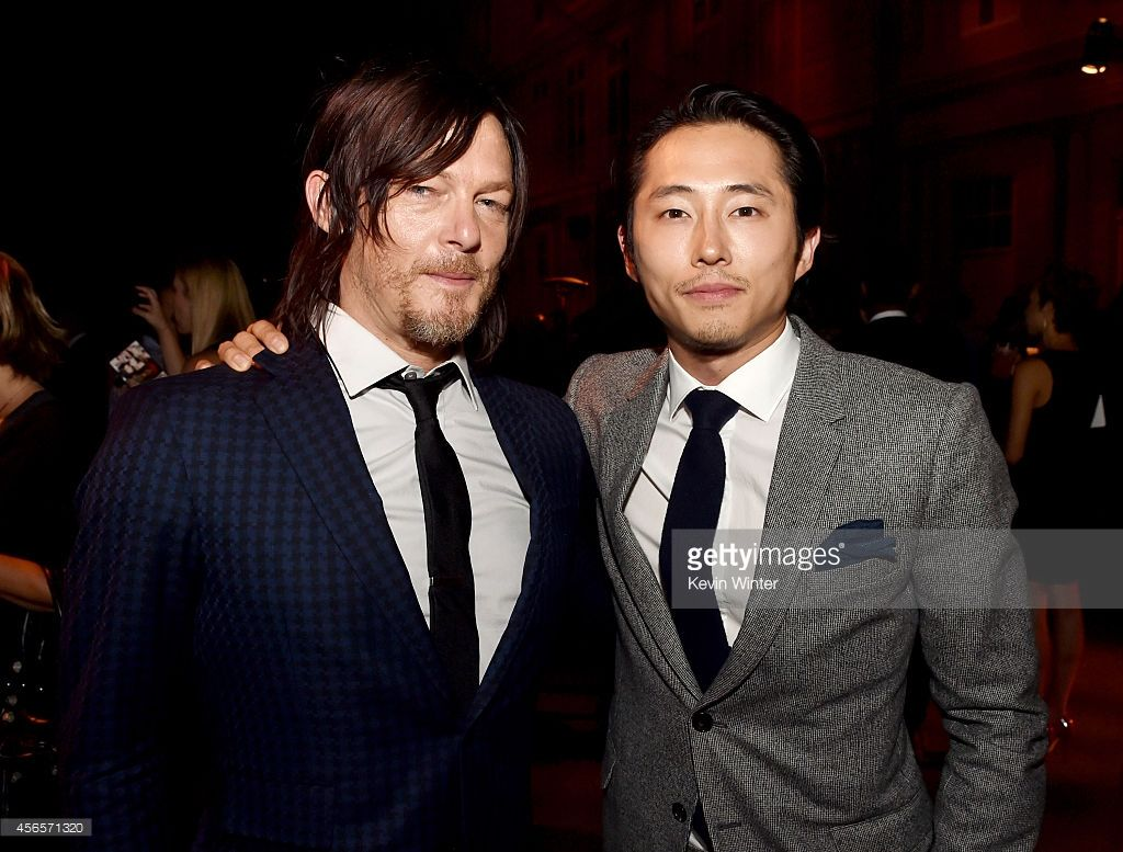 Actors Norman Reedus And Steven Yeun Pose At The After Party For The Walking Dead Premiere Walking Dead Season The Walking Dead