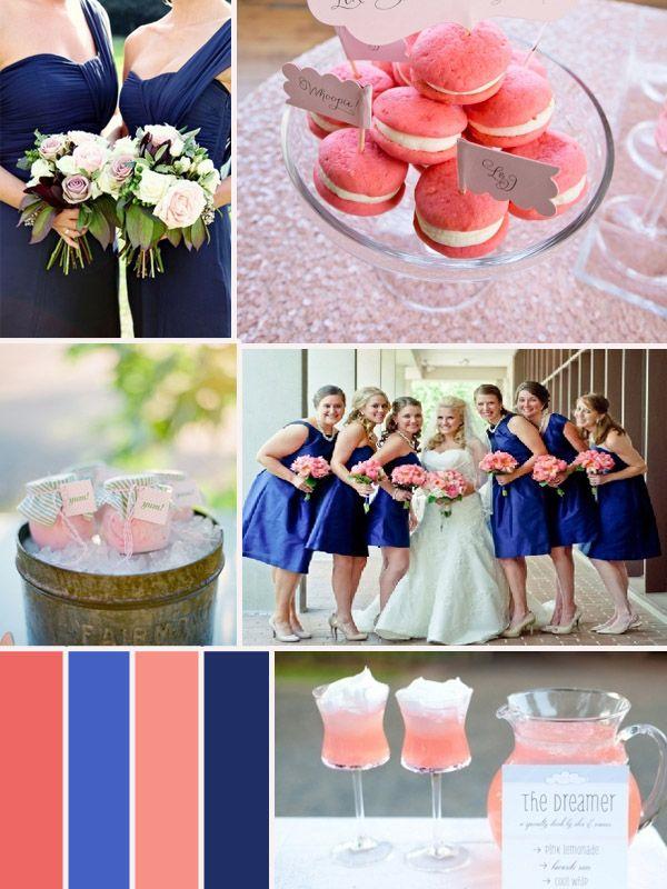 mariage en rose bleu foncé le décor de la table les robes de soirée pour les