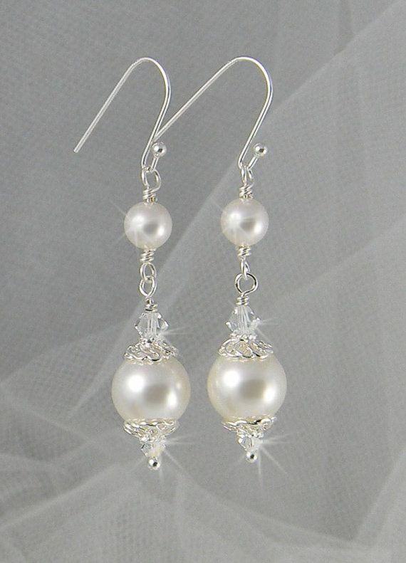 59d2e2753e979f Bridal Earrings Long Dangle Pearl wedding earrings Swarovski Wedding jewelry,  Swarovski Pearls, Swarovski Crystals, Abigail Earrings