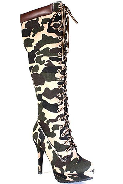 cc047bc4f71 JP SUEDE MATERIAL FRONT LACE DESIGN KNEE HIGH CASUAL HIGH HEEL BOOTS 85 Camo  Suede