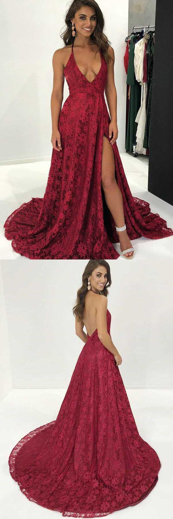 Aline halter sweep train red lace prom dress with split pg