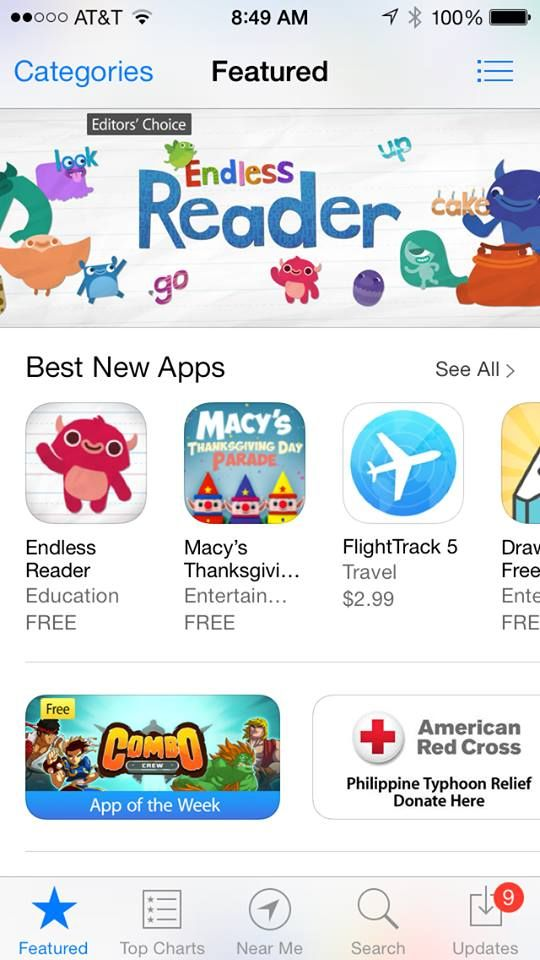 Apple promotes Endless Reader! Free education, News apps