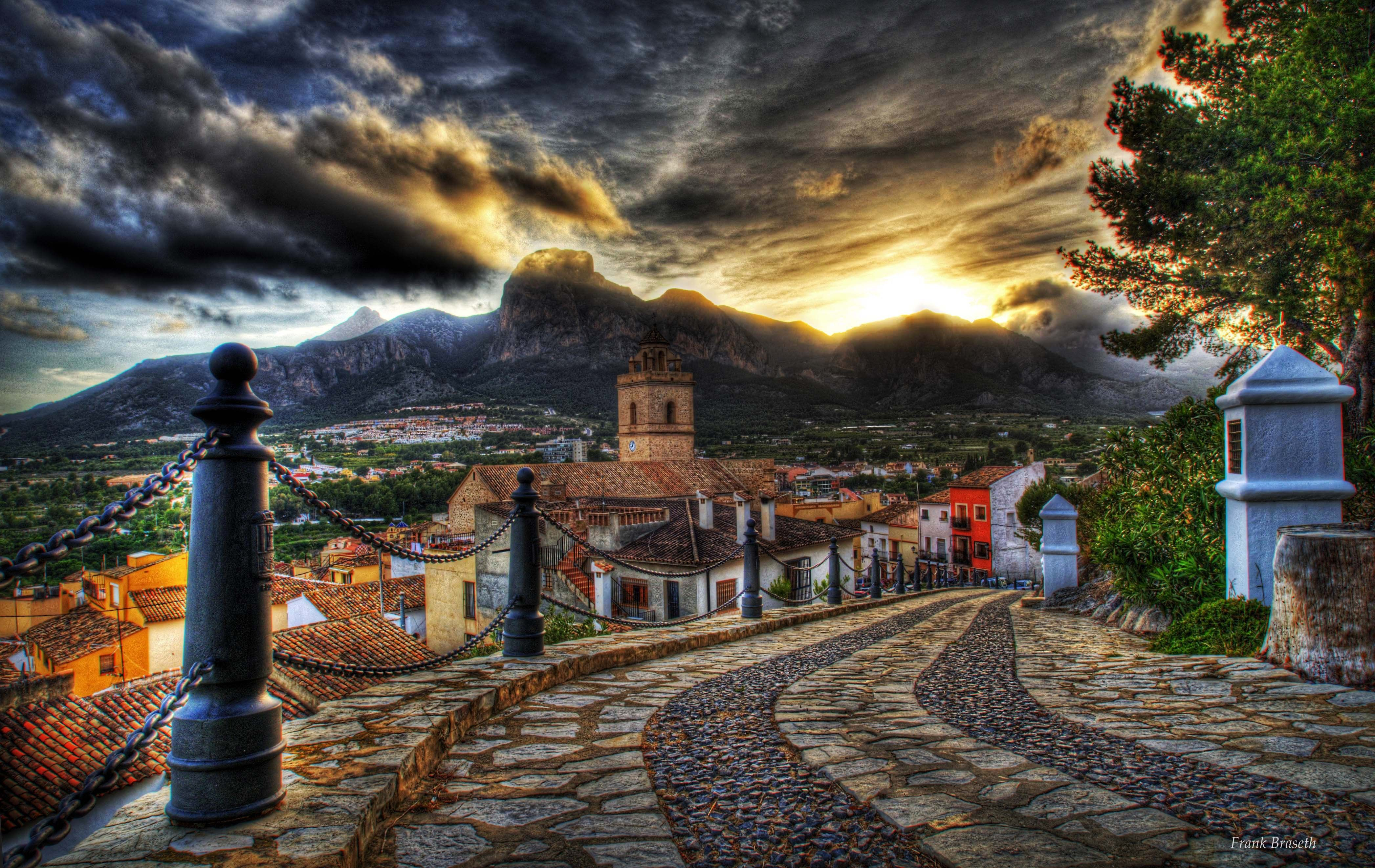 Architecture, street, mountain, hdr, old, sky, sunset ...