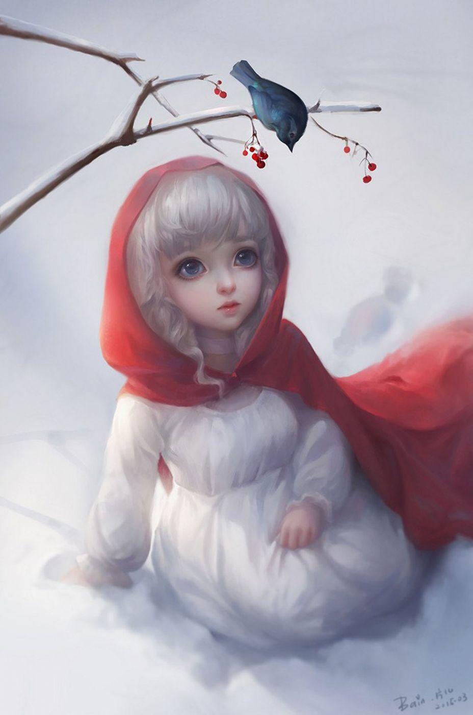 Photo of fantasy girl cute winter snow animal bird white hair blue eyes