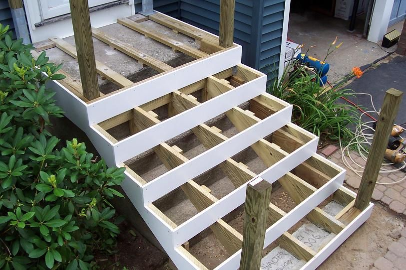 Deck Over Concrete Stoop Deck Over Concrete Concrete Front   Wood Steps Over Concrete Steps   Cement   Concrete Patio   Brick   Stair Stringers   Curb Appeal