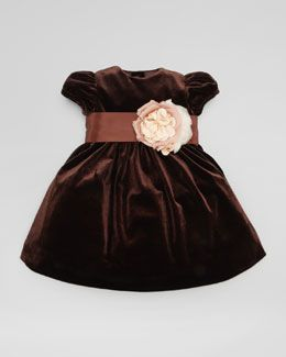 Z0ZHF Ralph Lauren Velvet Silk Flower Dress, Chestnut Brown, 3-9 Months