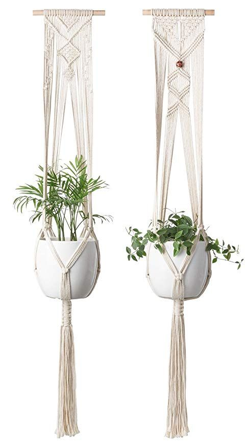 Mkono Macrame Plant Hanger Hanging Planter Wall Art Home Decor 46 Inches Set Of 2 With Images Macrame Plant Hanger Hanging Planters Plant Hanger