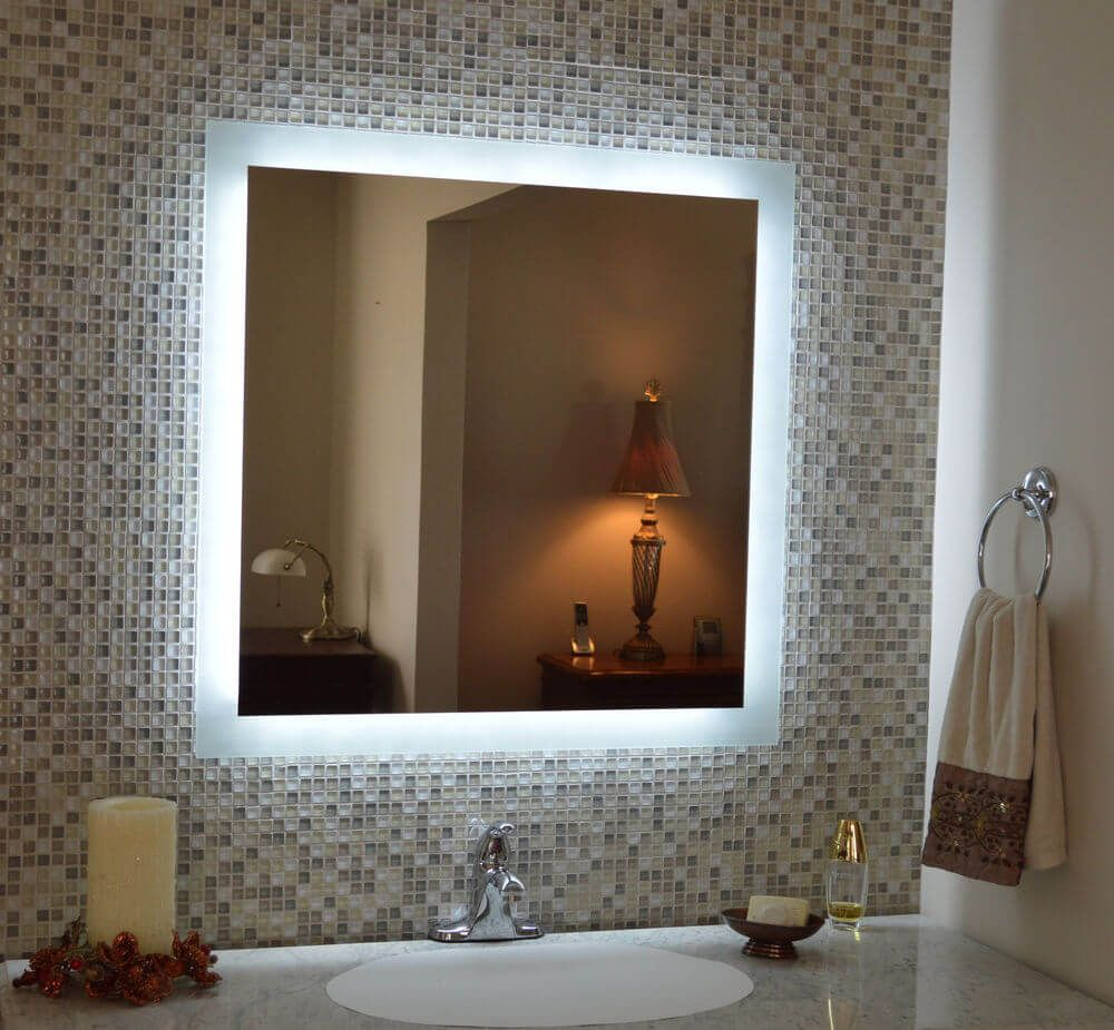 Diy vanity mirror with lighted frame bathroom pinterest diy