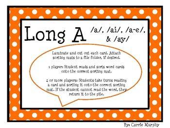 Long A Word Sort, /a/, /ai/, /a-e/, & /ay | Polka dots, The long ...