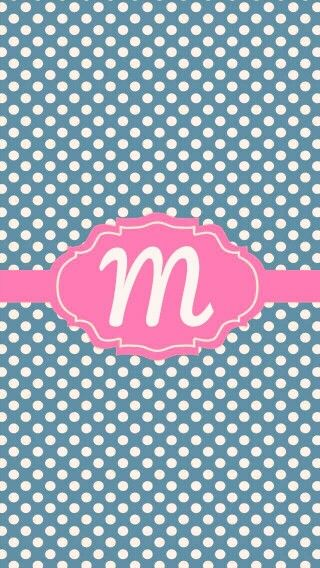 Polka dot 'm' monogram phone wallpaper
