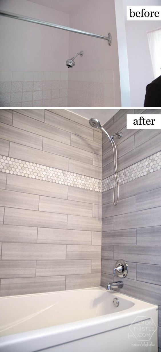 redoing bathroom%0A Bathroom Remodel on a Budget Love The Marble Hexagon Accent Tile