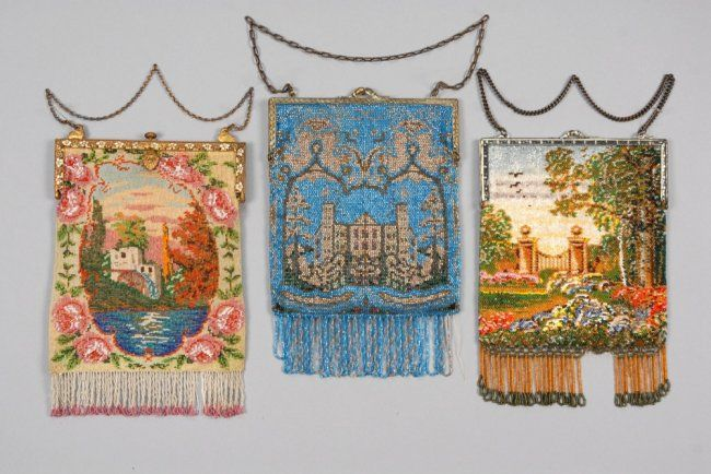 THREE SCENIC BEADED BAGS, EARLY 20th C. All with hinged : Lot 704