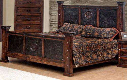 Copper Creek King Bed Rustic Western Free S H Dark Stain Metal