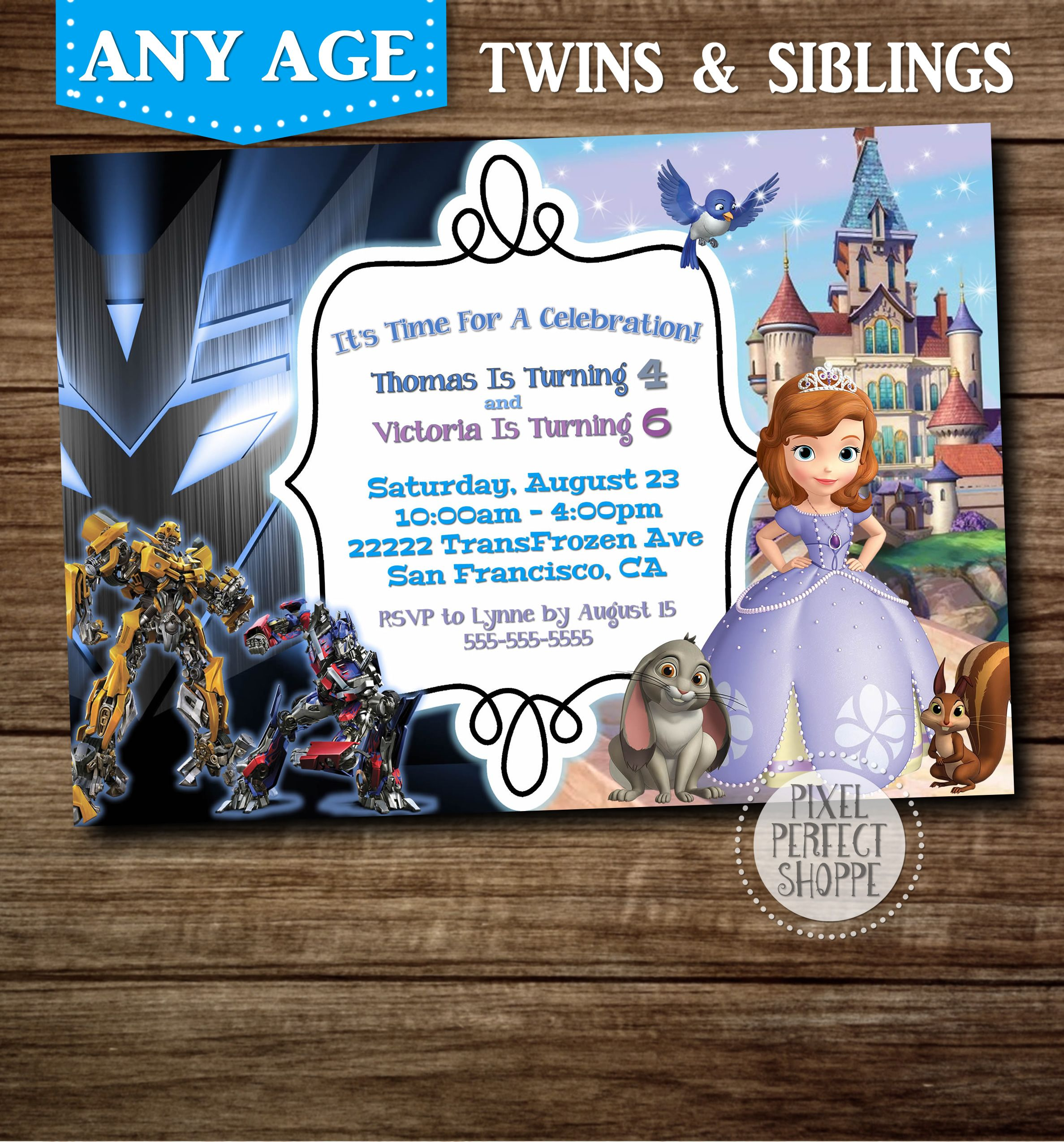 Transformers And Sophia The First Birthday Invitation For Boys Girls Brother Sister Friends Siblings Twins Or Those Wanting Two Themes On