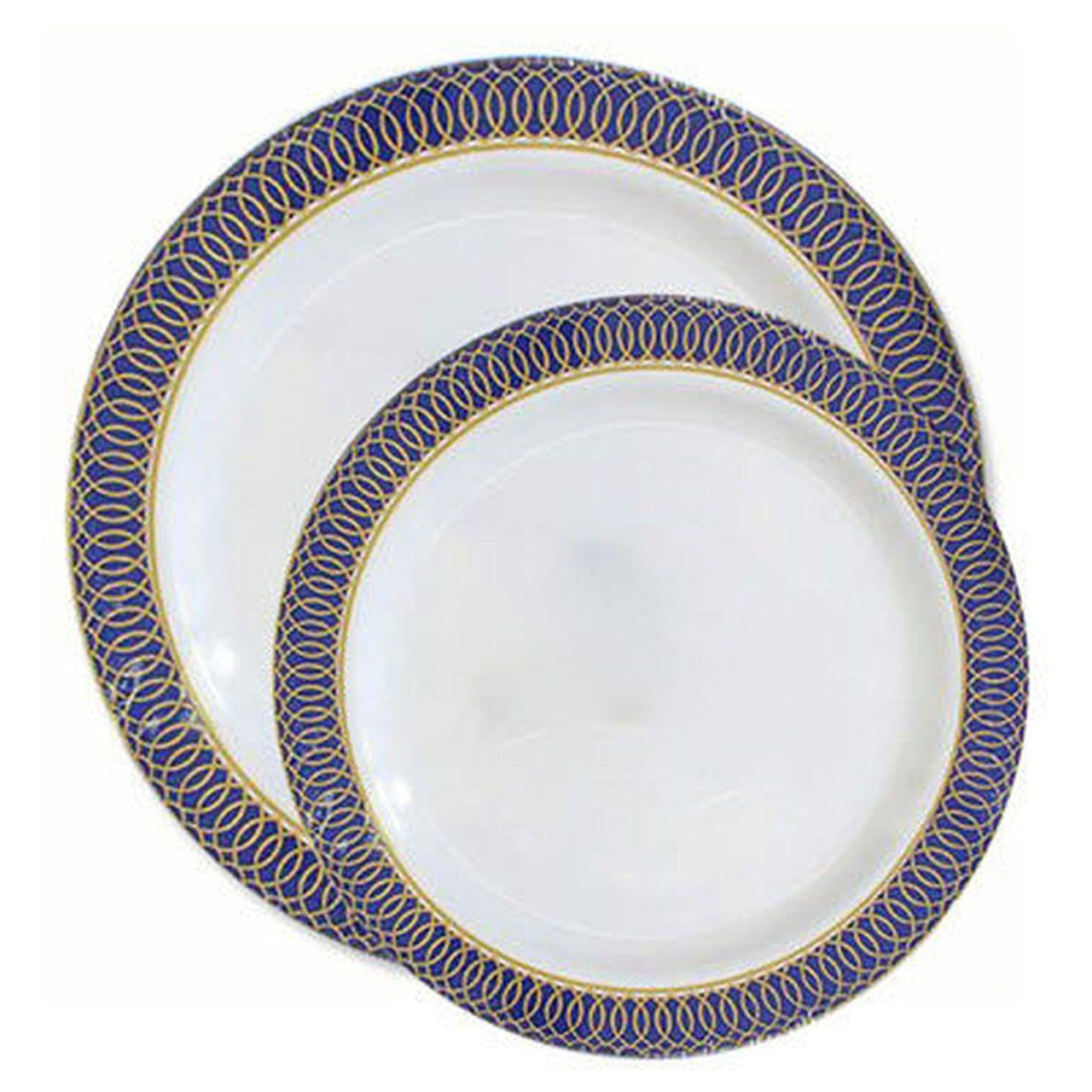 White With Blue Rim Aristocrat Plastic Tableware Package Plastic Plates Wedding Elegant Plastic Plates Gold Rims