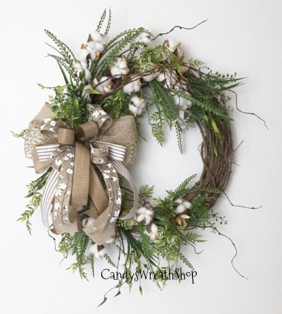 Photo of Cotton Boll Wreath, Southern Wreath, Flower Wreath, Peasant Wreath, Wine Wreath, Cotton Wreath, Everyday Flower Wreath, Rustic Wreath