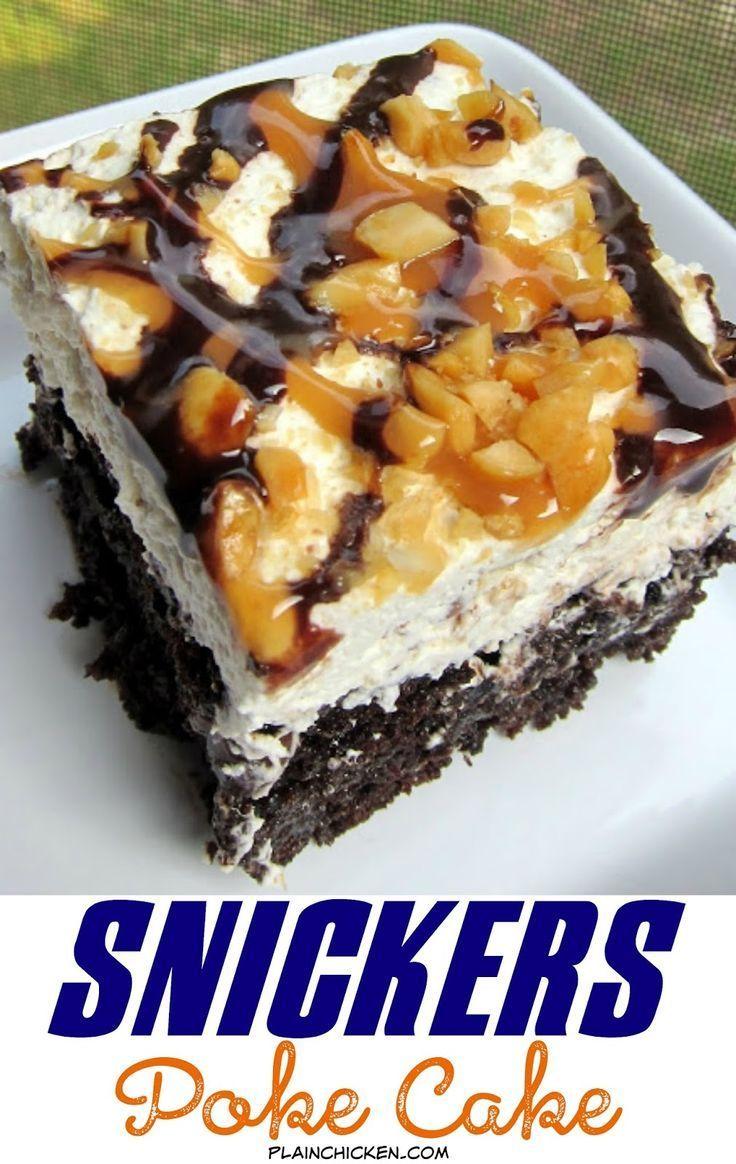 Snickers Poke Cake Recipe   chocolate cake, caramel, whipped cream ...