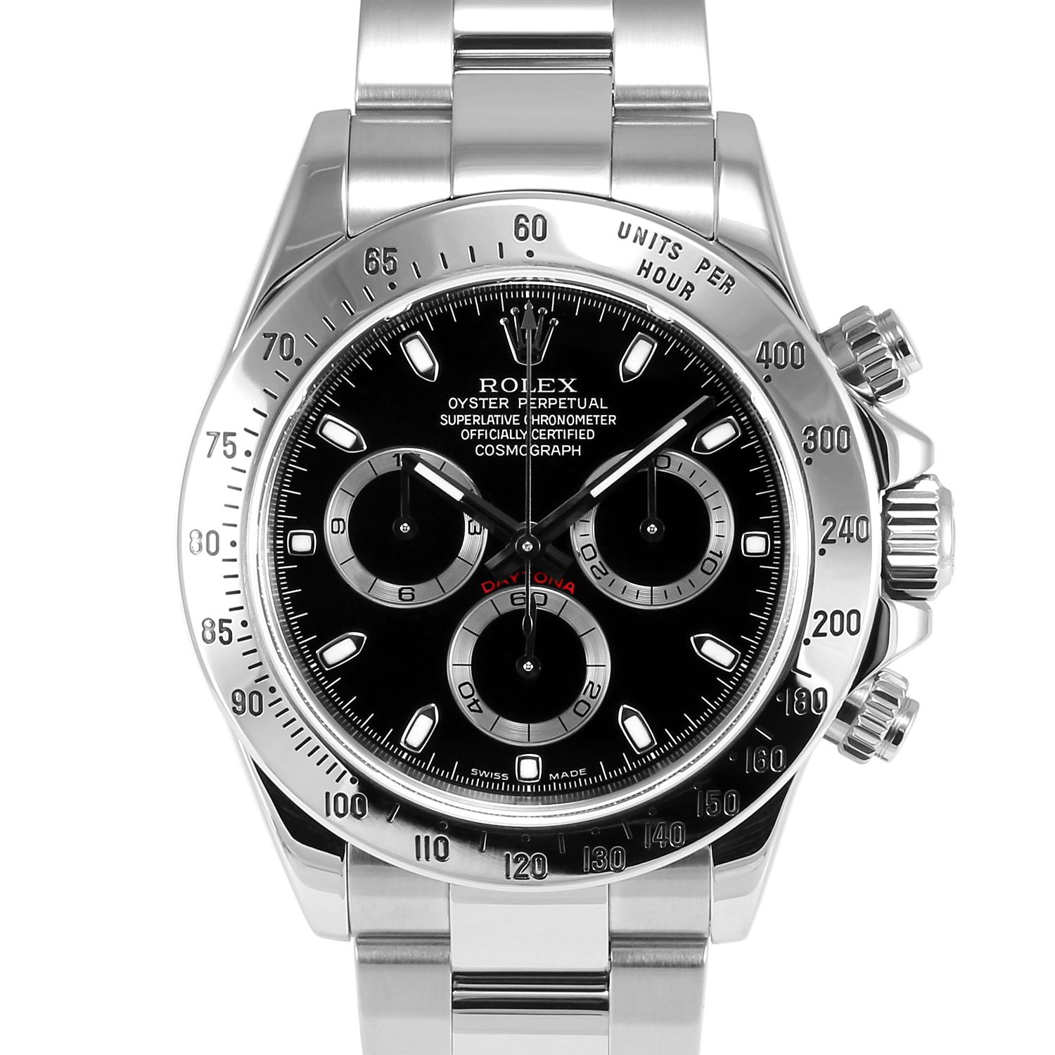 Men S Rolex Daytona Stainless Steel Black Dial Tachymeter Engraved