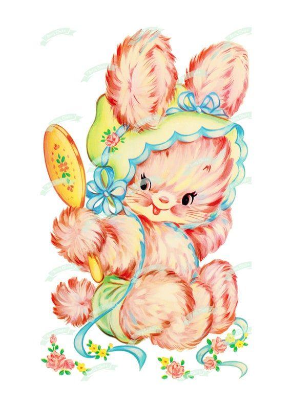 xl vintage digital download pink bunny vintage greeting