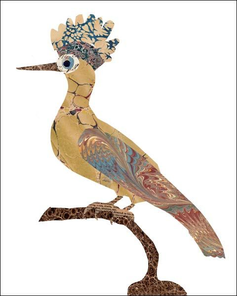 Hoopoe by all things paper, via Flickr - Great idea to incorporate Suminagashi!