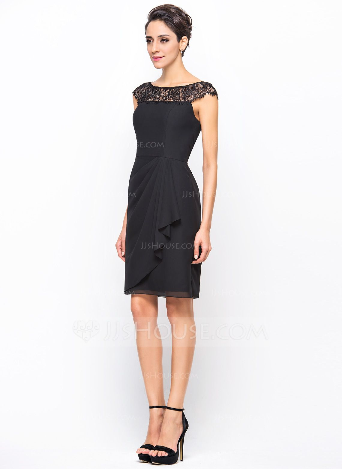 651307e96c Sheath Column Scoop Neck Knee-Length Chiffon Cocktail Dress With Lace Cascading  Ruffles (016055956)