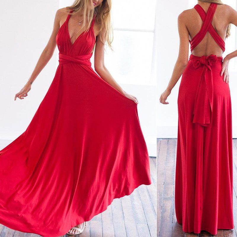 Red Infinity Wrap Maxi Dress