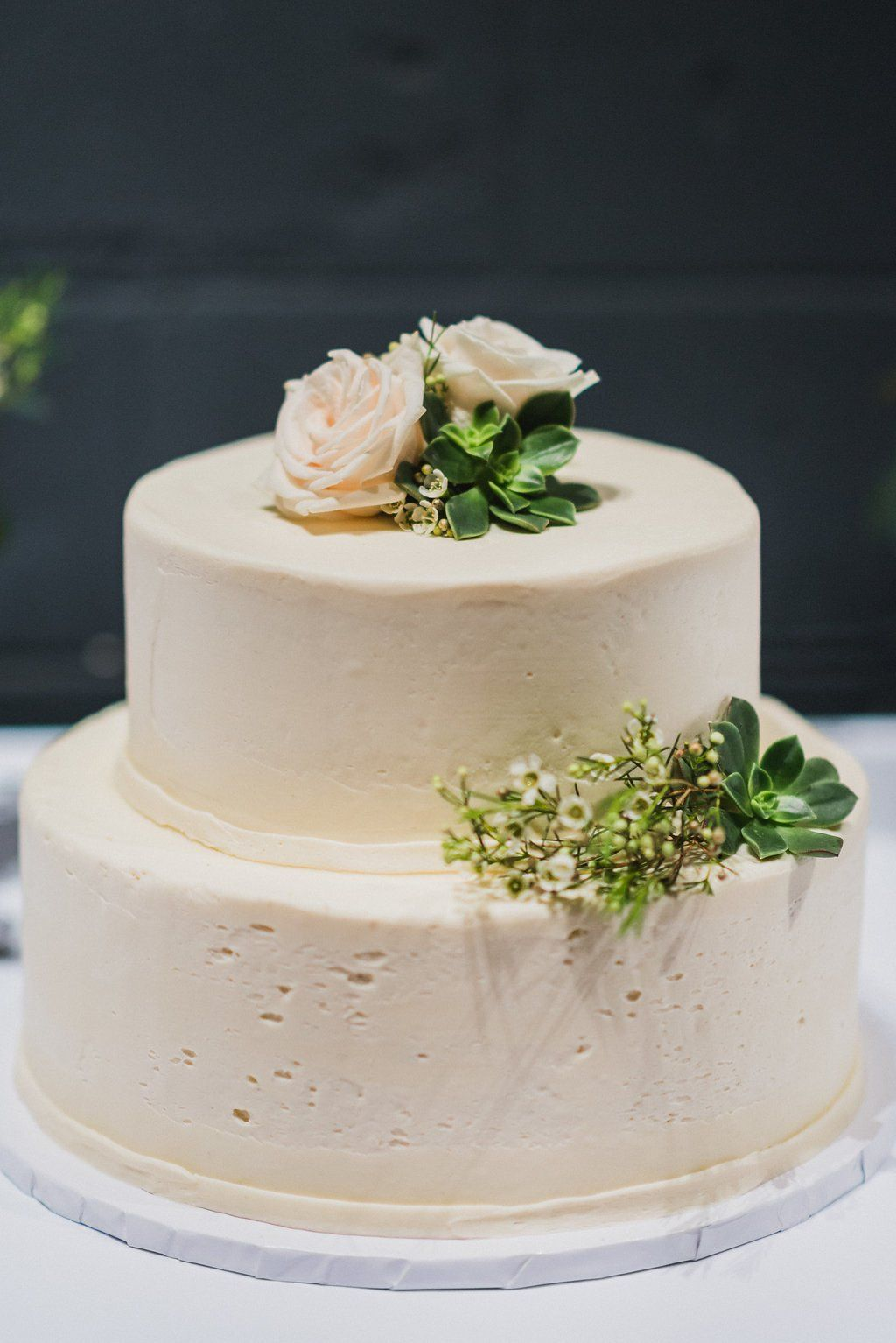 White Buttercream Wedding Cake By Susie Cakes, Los Angeles. Wedding  Planner: Moxie Bright Events Venue: Smog Shoppe