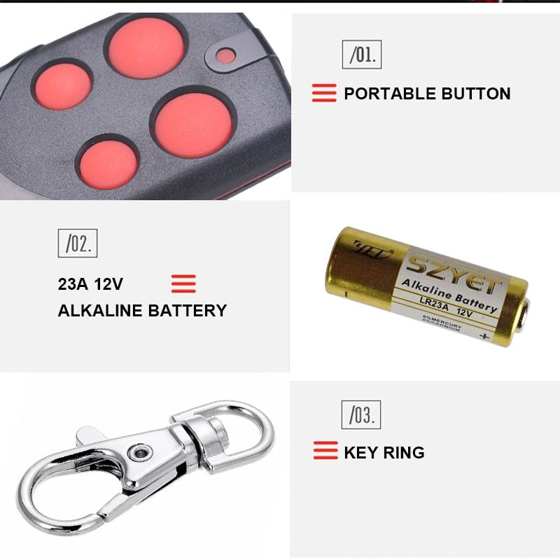Four Buttons With 23a 12v Alkaline Battery And Good Quality Key Ring Yet2117 Remote Control For Smart Home Security System Remote Control Remote Wireless
