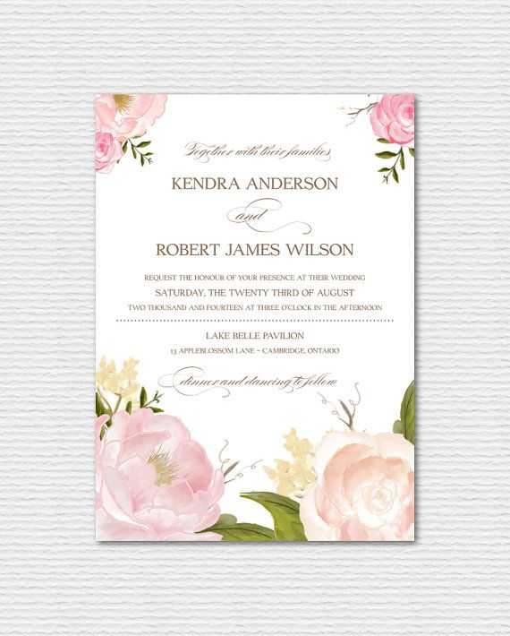 Printable Wedding Invitation Watercolor Peonies And Roses Vintage Fl Chic Suite