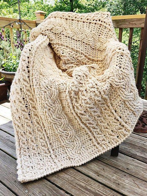 Celtic Afghan | Crochet Afghan in white and natural | Pinterest