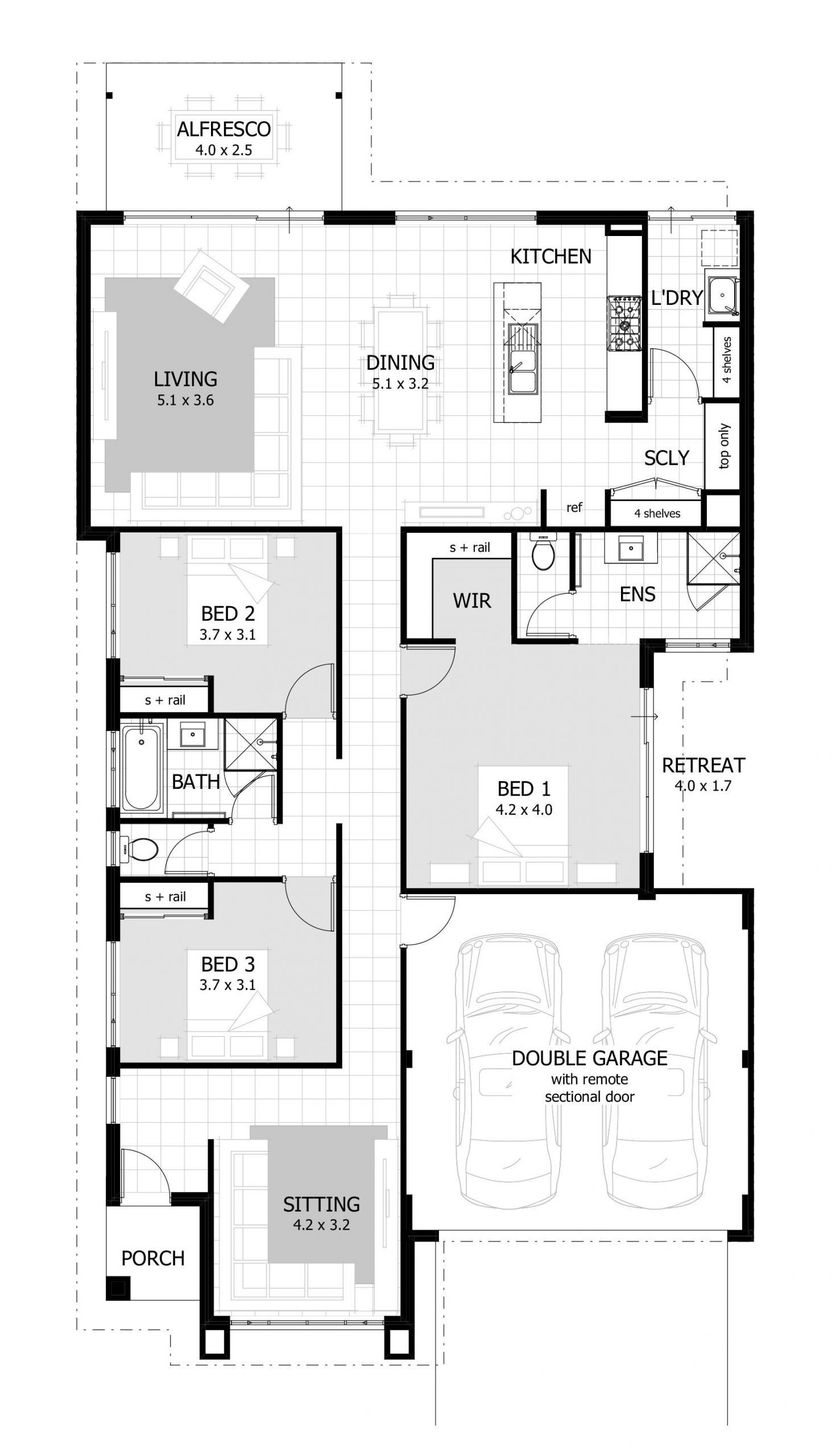 House Plans 3 Bedroom And Double Garage 2021 Denah Rumah Desain Rumah Rumah