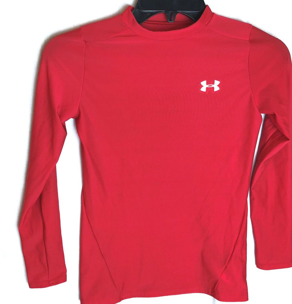 95624572 Under Armour T Shirt II Youth Size Large YLG Heatgear Red Boys Girls ...