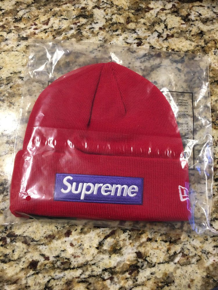 b0eb3345b81 SUPREME 2017 BOX LOGO BEANIE RED PURPLE O S RARE BIG S MOTION HAT CAMP CAP  NYC  fashion  clothing  shoes  accessories  mensaccessories  hats