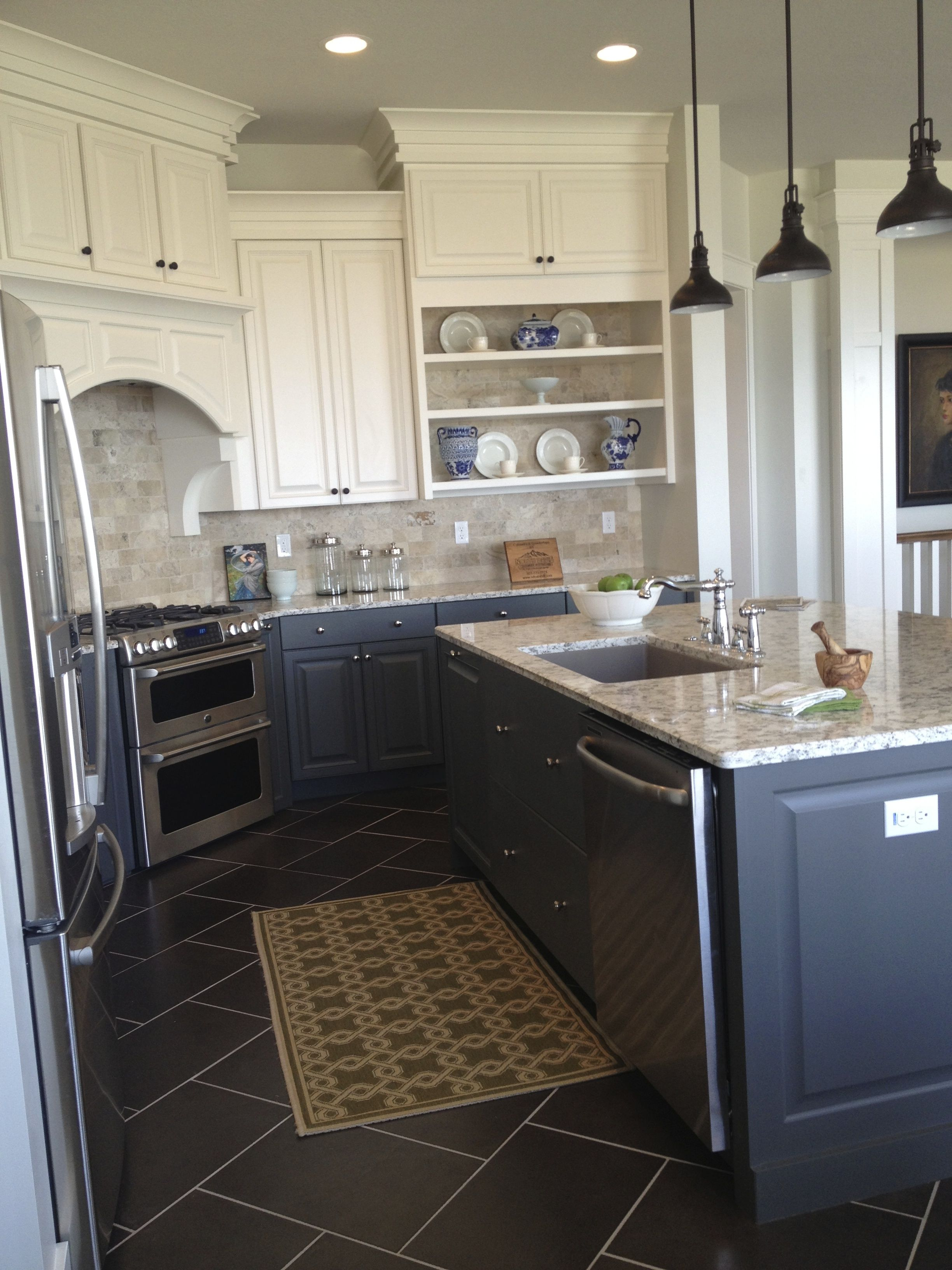 charcoal base cabinets and island white upper cabinets mixed