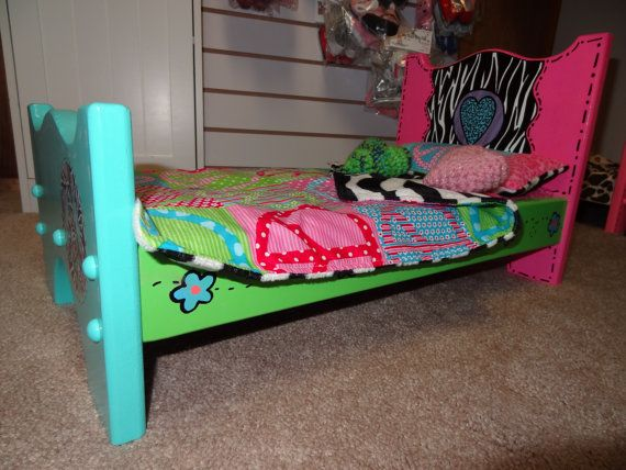 Handcrafted Doll Bed for American Girl Dolls and all 18 inch Dolls. $65.00, via Etsy.