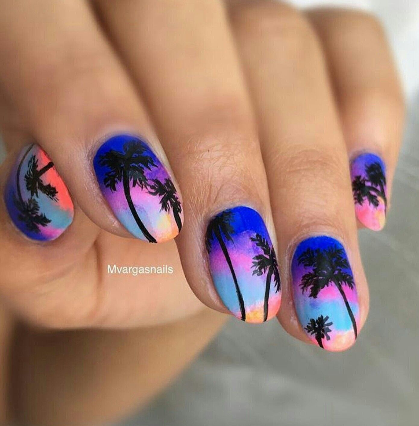 Tropical sunset nail art, palm trees - Tropical Sunset Nail Art, Palm Trees Outfits Pinterest Sunset